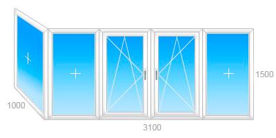 Рама балконная пвх.veka 60. стеклопакет однокамерный (2 стек.